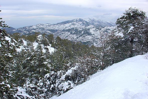 Snow scenery in Cyprus