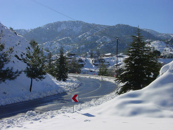 Cyprus villages under snow